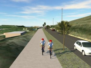 Concept design of multi use path added along Kalamalka Lake Road in Vernon